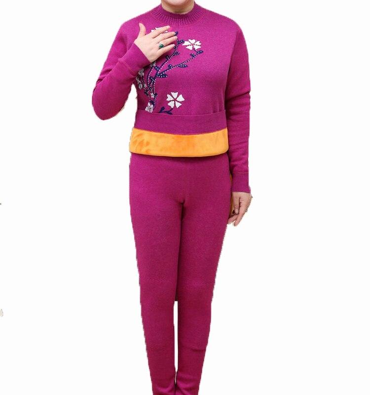 Winter Women Thermal Underwear Sets Mother Crew Neck Red Purple Grey Flower Sequined Thicken Fleece Warm Intimates Suit Female