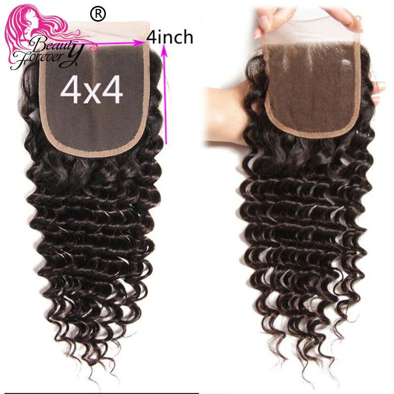 Image 3 - Красота навсегда бразильские волосы глубокая волна пряди с закрытием свободная часть/средняя часть 100% Remy человеческие волосы ткет высокое соотношение-in 3/4 пучка на сетке from Пряди и парики для волос on AliExpress