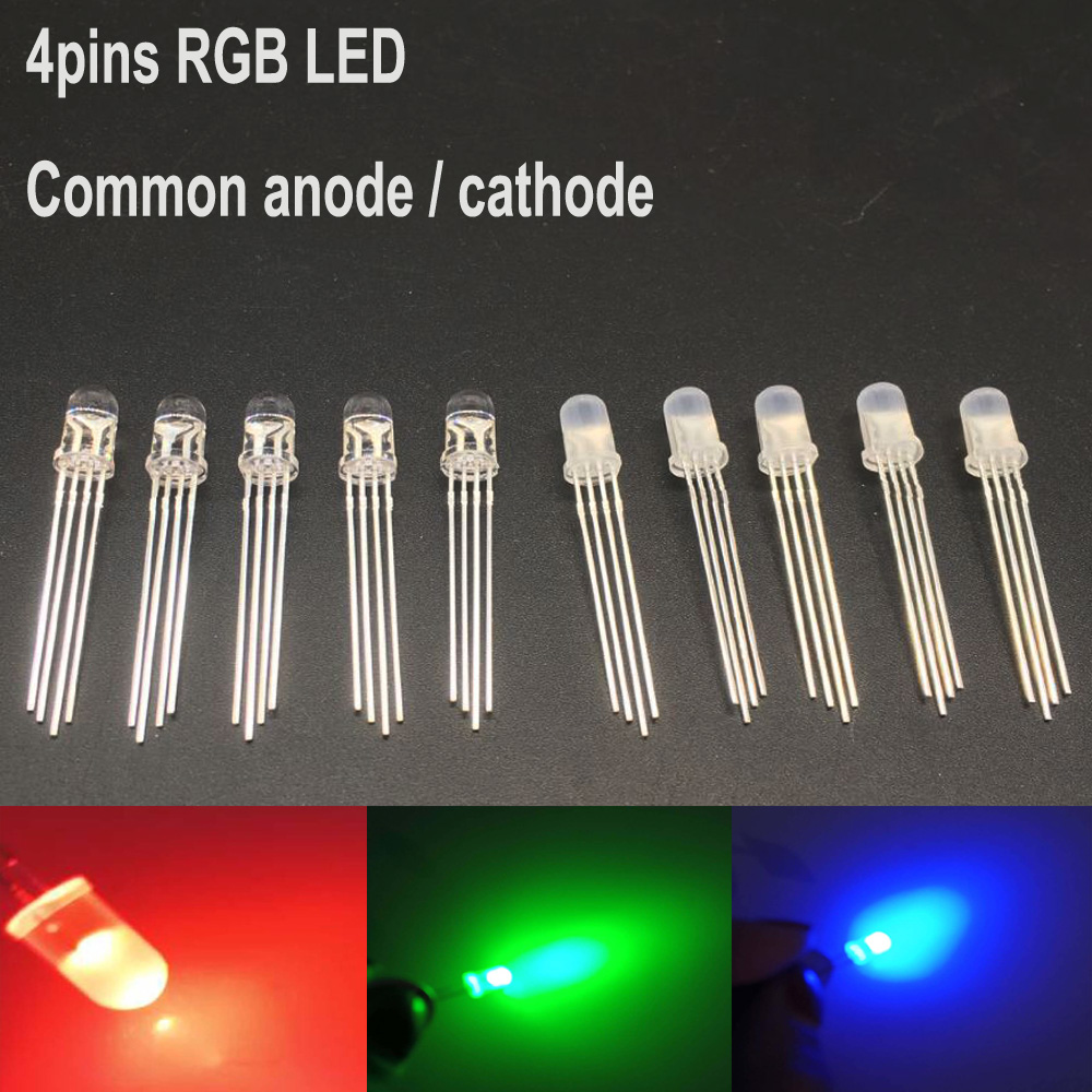 20//50//100PCS 5mm 4pin RGB Diffused Tri-Color Red Green Blue Common Anode LED