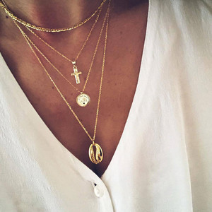 Modyle 26 Styles Boho Shell Pendant Necklace for Women Long Chain Round Charm Statement Choker Necklace Wedding Jewelry