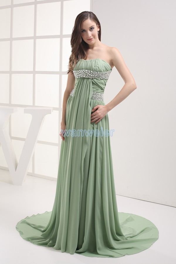 Free Shipping Crystal Gown 2016 Green Vestidos Formales Brides Maid Dress Customized Maxi Dresses Long Chiffon Evening Dresses
