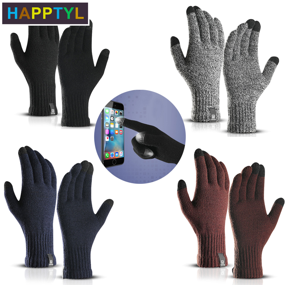 HAPPTYL 1Pair  Women Man Running Gloves Touch Screen Gloves Winter Running Accessories