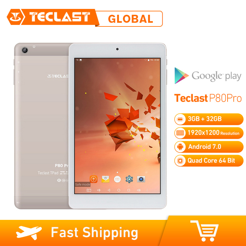 Teclast P80 Pro 3GB RAM 32GB ROM 8 Inch Android 7.0 MTK8163 Quad Core 1.3GHz Tablet PC Dual WiFi Dual Cameras 1920*1200 GPS