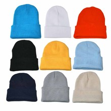 Beanie Hat Knitted-Hat Blends Cotton Solid-Color Fashion Women Casual for Female Hip-Hop-Cap