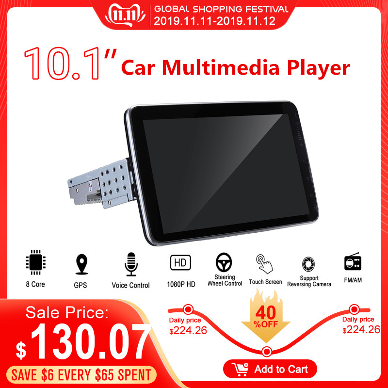 10.1 inch Android 8.1 Car GPS Navigation WIFI 1+16G Color Screen Car Stereo Radio Multimedia Video Player 360 Degree Rotation image