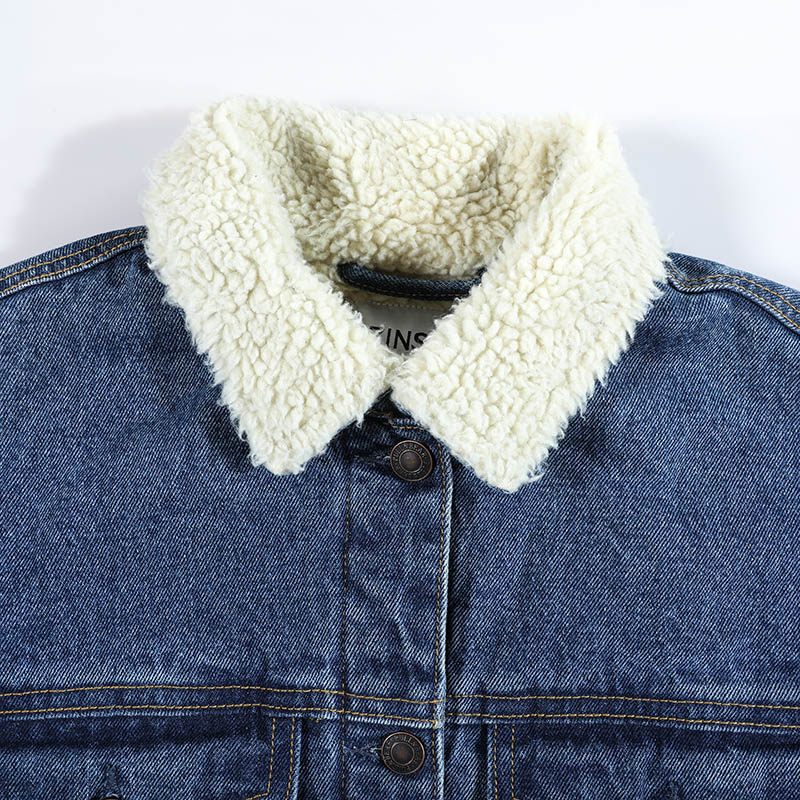 Autumn Winter Women Denim Fancy Jacket Slim Long Sleeve Knit Denim Stretch Denim Washed Blue Female Lady Coat - 6