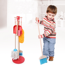 YOBANG Kids Cleaning Set 7 Piece Wooden Detachable Toy Cleaning Set Includes Kid-Sized with Housekeeping Broom Mop Duster