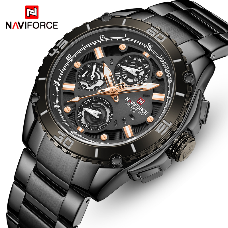 NAVIFORCE Mens Watches With Stainless Steel Band Top Brand Luxury Men Sports Quartz Watch Calendar Male Clock Relogio Masculino