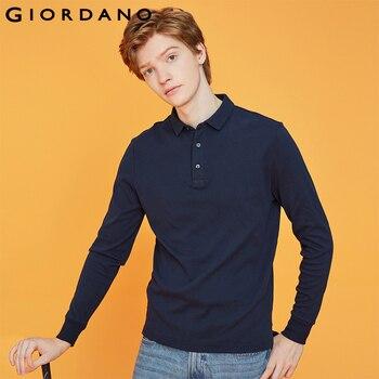 Giordano hommes Polo chemise hommes épais solide à manches longues Polo hommes chemise hiver chaud mince doux coton tissu 01019779