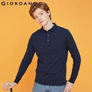Image 1 - Giordano Men Polo Shirt Men Thick Solid Long Sleeve Polo Men Shirt Winter Warm Slim Soft Cotton Fabric 01019779