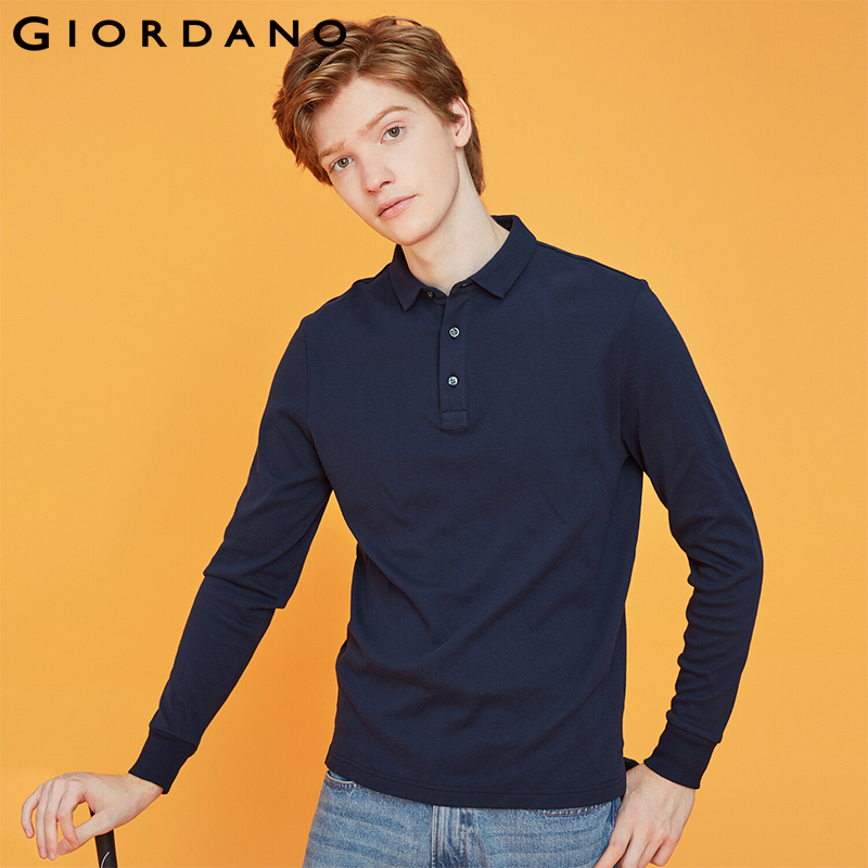 Giordano Men   Polo   Shirt Men Thick Solid Long Sleeve   Polo   Men Shirt Winter Warm Slim Soft Cotton Fabric 01019779