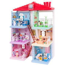 Girls Villa Plastic DIY Dollhouses Play House Furniture Kit With Led Light Assembled Doll House Toys For Girls Children Gifts