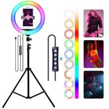 FOSOTO مصباح حلقي RGB Led مع حامل ، مصباح حلقي للتصوير الفوتوغرافي مع حامل ، USB ، للماكياج والفيديو المباشر ويوتيوب
