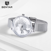 BENYAR Women Watches Top Brand Luxury Quartz Watch Fashion Silver Female WristWatch Ladies 2019 Clock Zegarek Damski