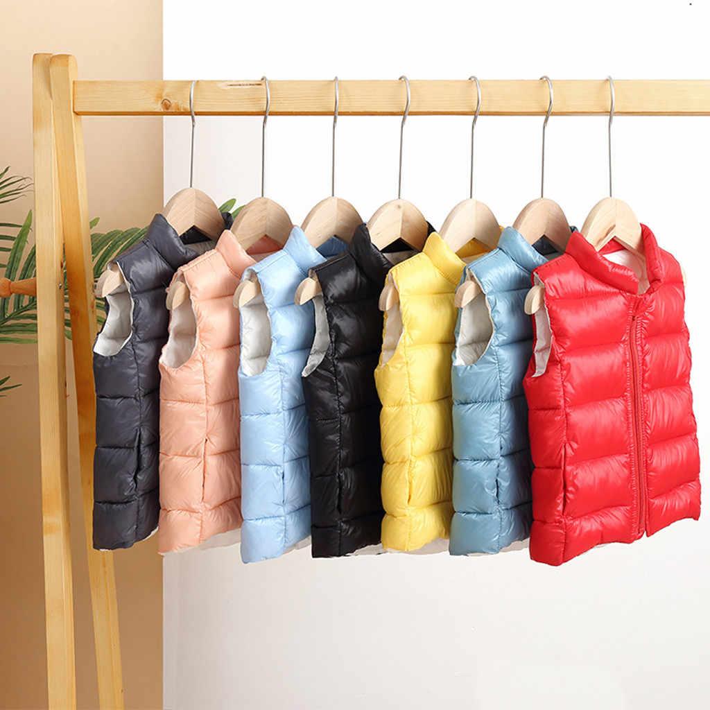 Niños pequeños Baby Grils ropa para niños Chaleco de color sólido ropa de bebé cálido chaleco prendas de vestir abrigo de invierno para niñas Dropshipping