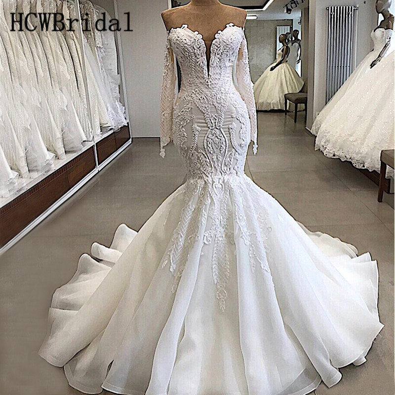 New Arrival Luxury Dubai Wedding Dresses Long Sleeves Organza Mermaid Bridal Dress Customize Robe De Mariee Sirene New Arrival