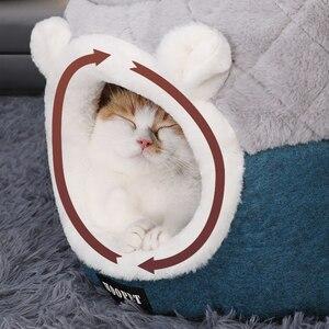 Image 4 - HOOPET חתול מיטת בית רך קטיפה מלונה גור כרית קטן חתולי כלבי קן חורף חם שינה חיות מחמד כלב מיטה לחיות מחמד mat ציוד
