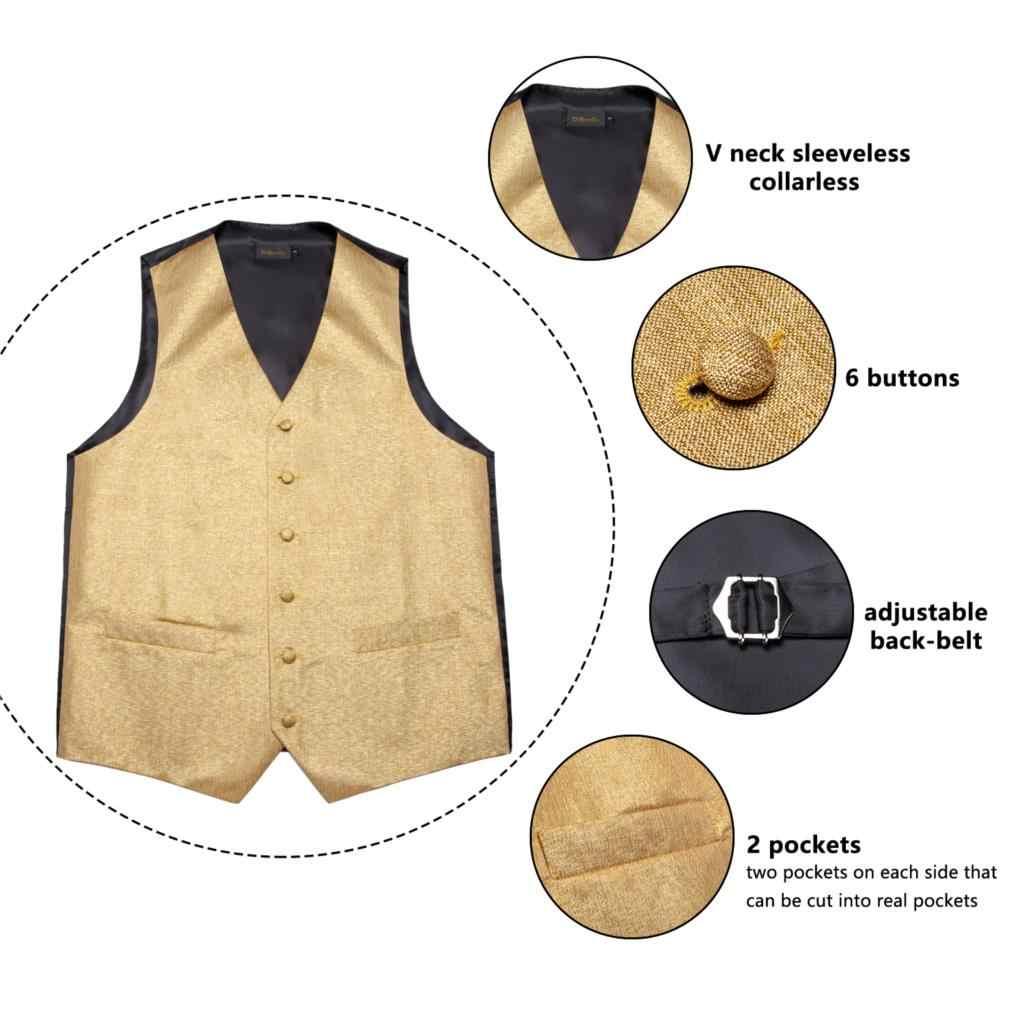Mode herren Gold Solide Silk Hochzeit Weste Weste Für Männer Bowtie Hanky Manschettenknöpfe Krawatte Set für Anzug Smoking DiBanGu design