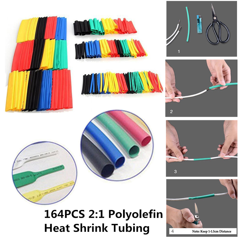 70/127/164/328pcs Polyolefin Shrinking Assorted Heat Shrink Tube Wire Cable Insulated 2:1 Shrinkable Tube Sleeving Tubing Set