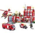 Enlamten 911 970 шт. пожарная станция спасательные строительные блоки игрушки для детей Совместимость с legoingly городской пожарный кирпич пожарные л...