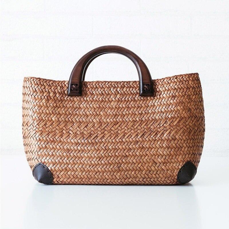 Handmade Straw Bag Retro Rattan Straw Woven Handy Beach Bag Simple Art Weaving Bag