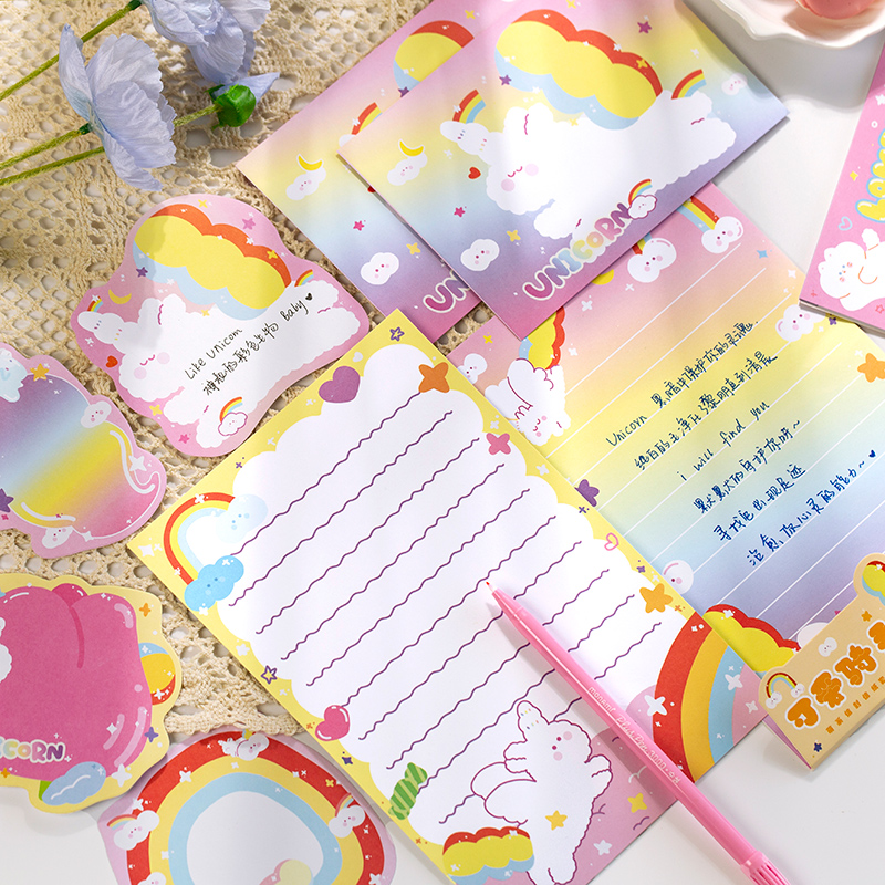 20 Pcs/set Kawaii Cute Rainbow Rabbit Cat Envelope Message Card Letter Set Stationary Storage Paper Gift