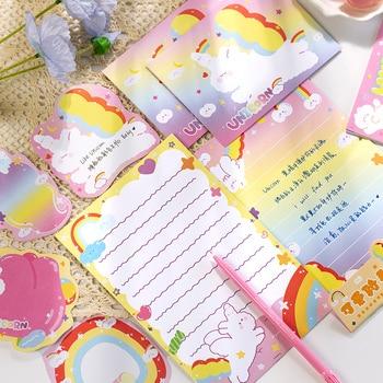 20 Pcs/set Kawaii Cute Rainbow Rabbit Cat Envelope Message Card Letter Set Stationary Storage Paper Gift