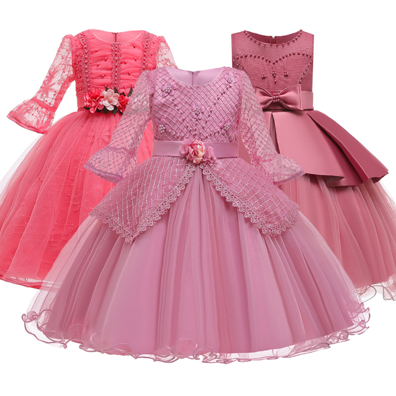 Romantic Flower Girl Wedding Bridesmaid Group Performance Petal Dress Girl Birthday Party Exchange First Dress Vestidos