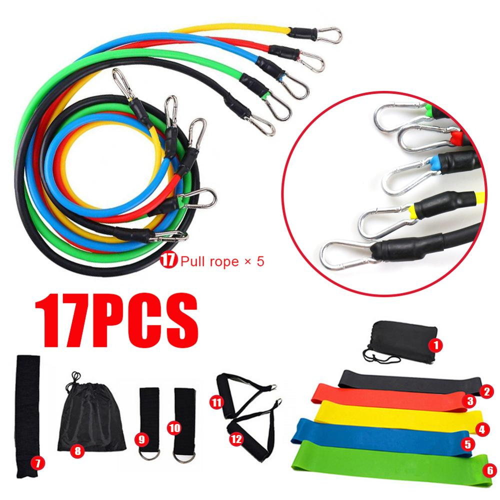 17 Pcs/Set Latex Resistance Bands Crossfit Training Exercise Yoga Tubes Pull Rope,Rubber Expander Elastic Bands Fitness with Bag 5