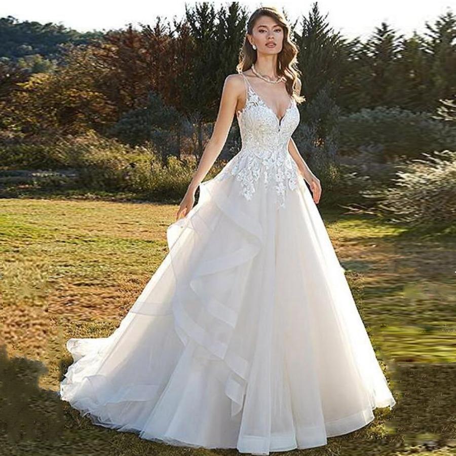 V-neck Neckline Layer Lace Applique A-line Wedding Dress With Spaghetti Straps Beading Court Train Vestido De Noiva