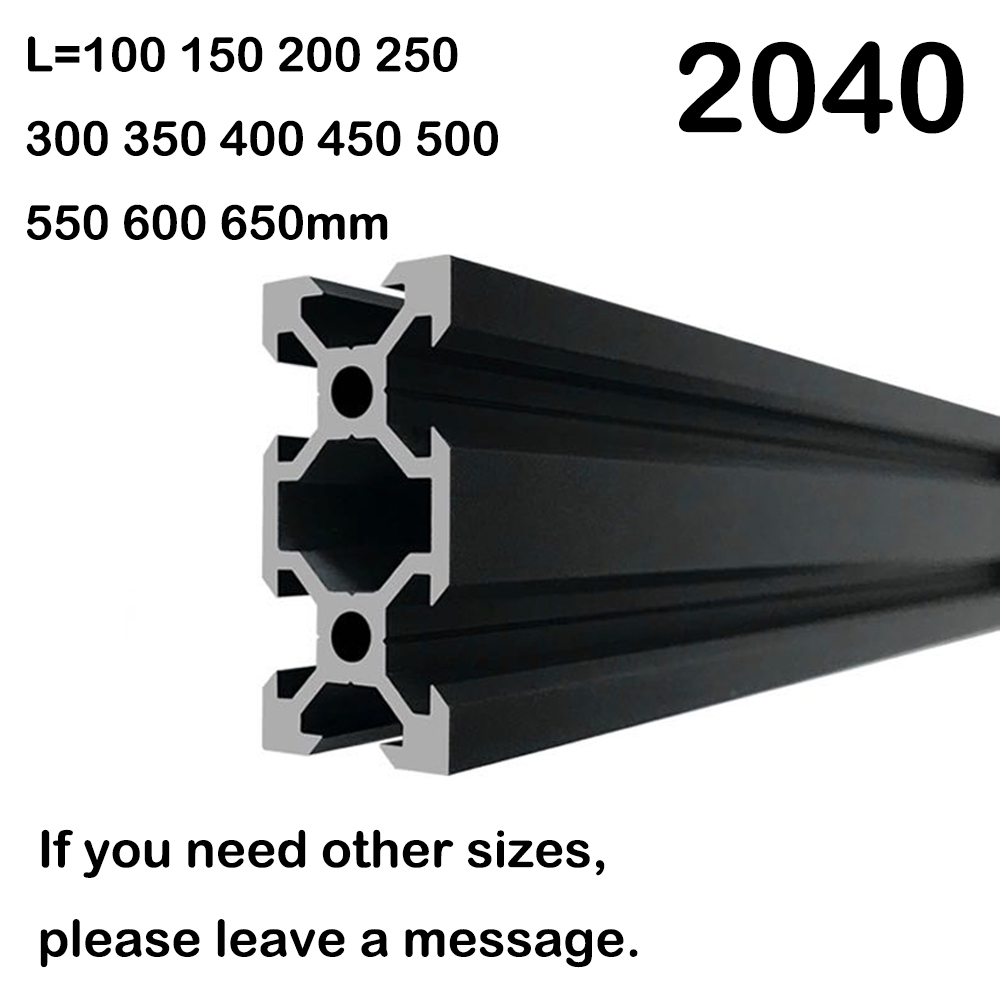 1PCS BLACK 2040 European Standard Anodized Aluminum Profile Extrusion 100-800mm Length Linear Rail  For CNC 3D Printer