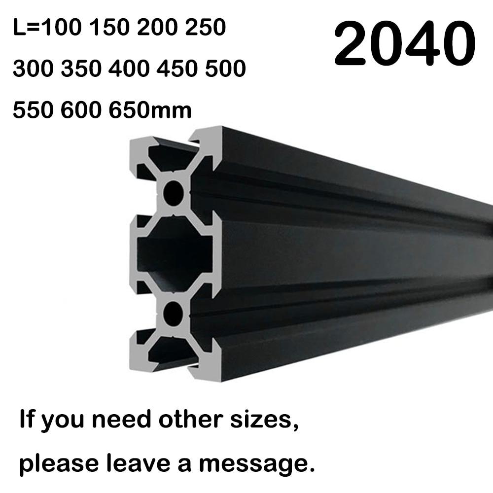 1PCS BLACK 2040 European Standard Anodized Aluminum Profile Extrusion 100-800mm Length Linear Rail  For CNC 3D Printer