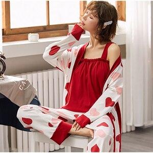 Image 4 - Bzel algodão pijamas conjunto para mulher vermelho amor pijamas dos desenhos animados femme nighty casual homewear loungewear 3 peça conjuntos pijamas
