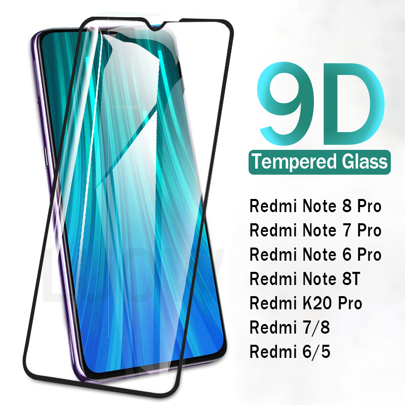 9D Full Cover Curved Tempered Glass For Xiaomi Redmi Note 8 7 6 8T 5 Pro Screen Protector For Redmi 8 7 8A 7A Protective Glass(China)