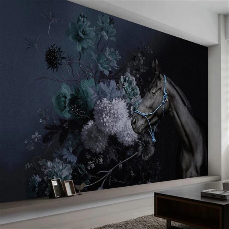 Beibehang Custom Large Wall Painter With Modern Minimalist Hand-painted Hydrangea Horse Black Bedroom Nordic Background Wall