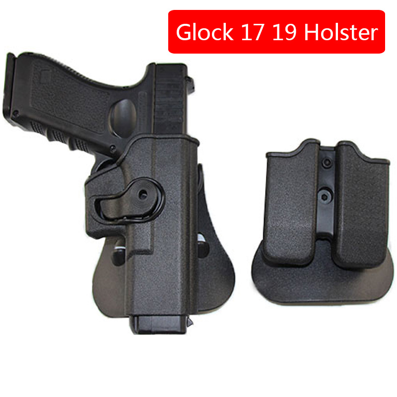 Tactical Glock Gun Holster for Glock 17 19 22 23 31 32 Pistol Case Airsoft Gun Case with Clip Pouch Military Hunting Accessories