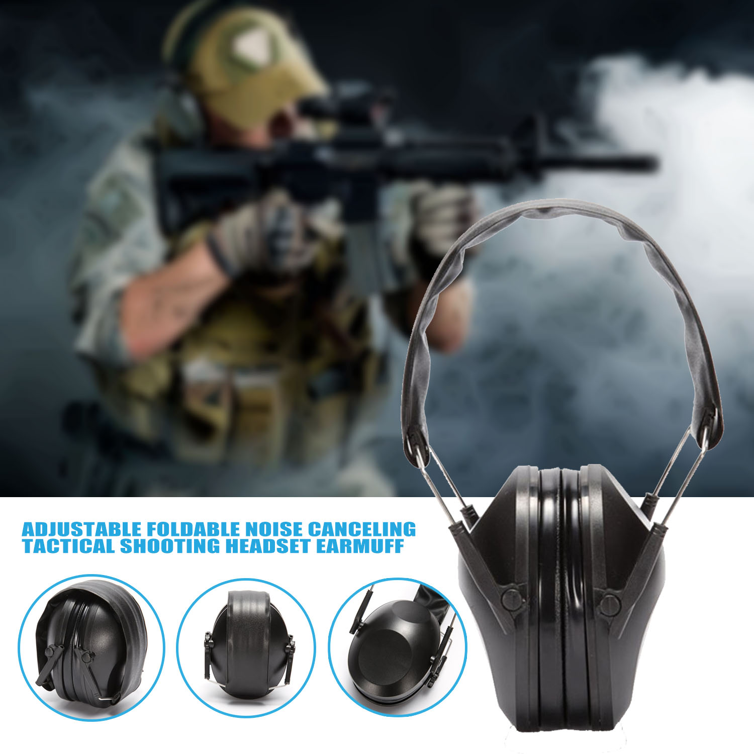 New Ear protector Tactical Shooting Earmuff Adjustable Foldable Anti Noise Snore Earplugs Soft Padded Noise Canceling Headset|Ear Protector| |  - title=
