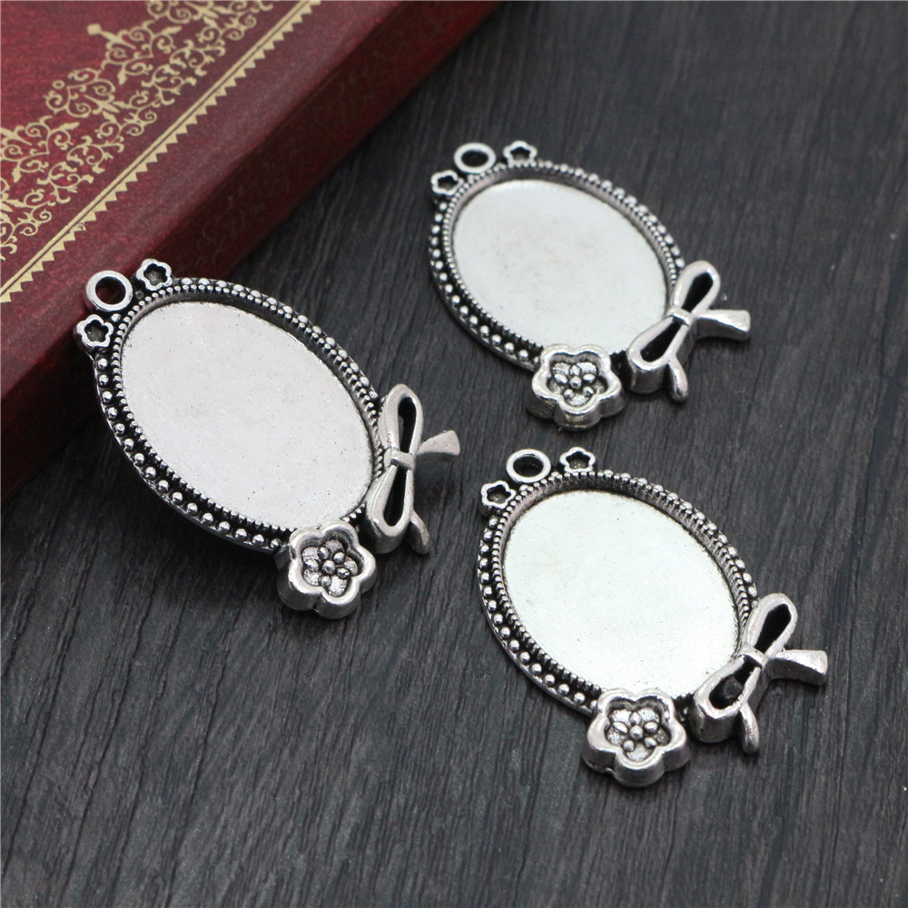 4pcs 18x25mm Inner Size Antique Silver Flowers Style Cameo Cabochon Base Setting Charms Pendant Necklace Findings  (C2-09)