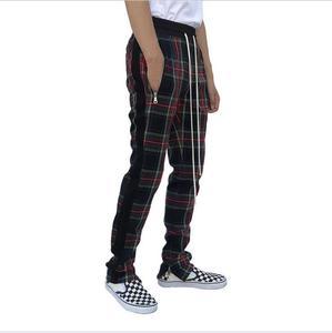 Image 4 - בציר סקוטי משובץ רצים מכנסיים Mens Tartan מסלול מכנסיים ג סטין ביבר שרוך קרסול רצועת Zip תיקון מכנסי טרנינג היפ הופ