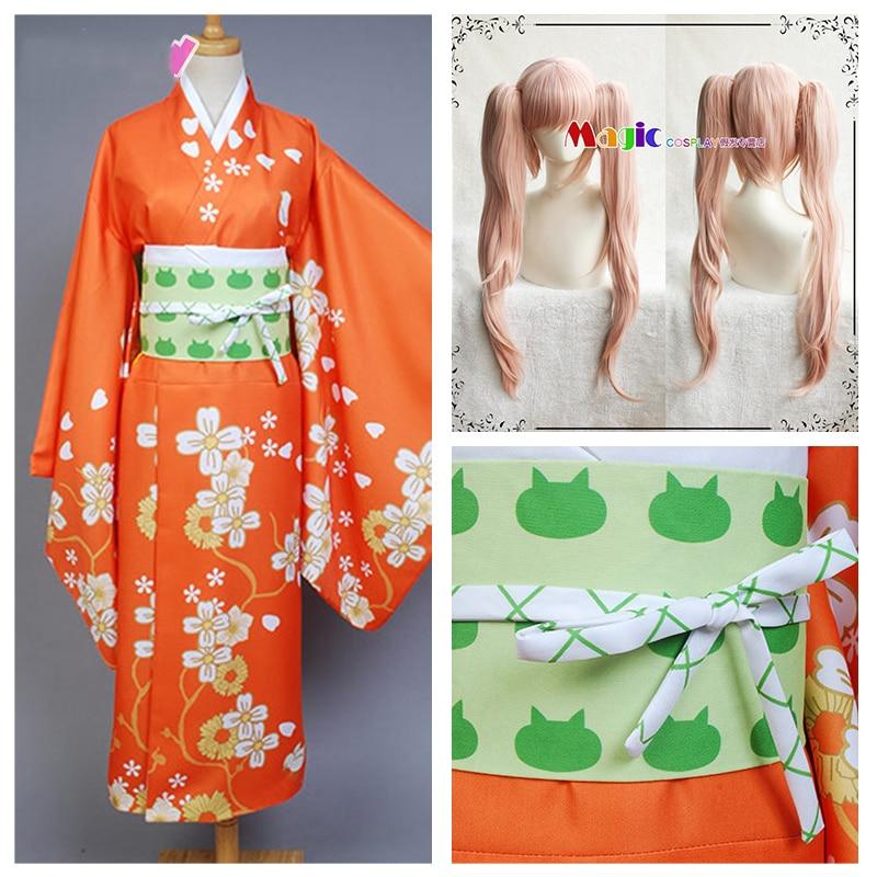 2020 Super Danganronpa 2 Cosplay Costume Hiyoko Saionji Kimono Costume Dress Halloween Purim Carnival Costumes And Wig