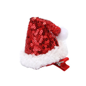 Hair Accessories For Girls Hairclip Kids Girl Sequins Christmas Hat Hairpin Lovely Cartoon Hair Card Sweet Dress Headdress
