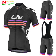 Women LIV Short sleeve Cycling Set 2021 Summer Women MTB Bicycle Cycling Clothing Ropa Ciclismo Cycling Jersey Set Spot delivery