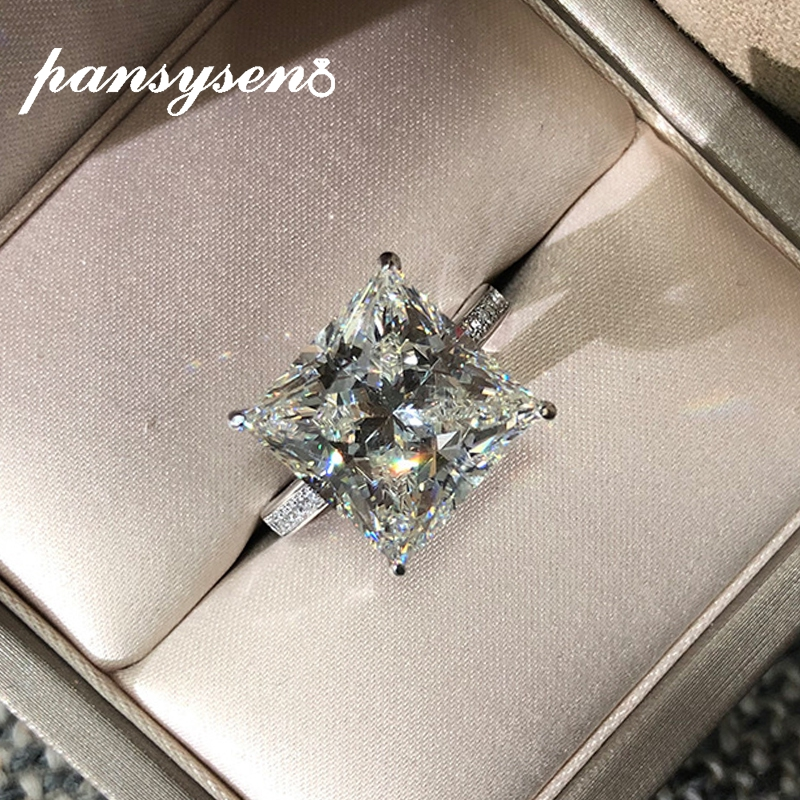 PANSYSEN New Classic 15.5ct Created Moissanite Wedding Rings For Women Solid 925 Sterling Silver Jewelry Party Ring Accessories