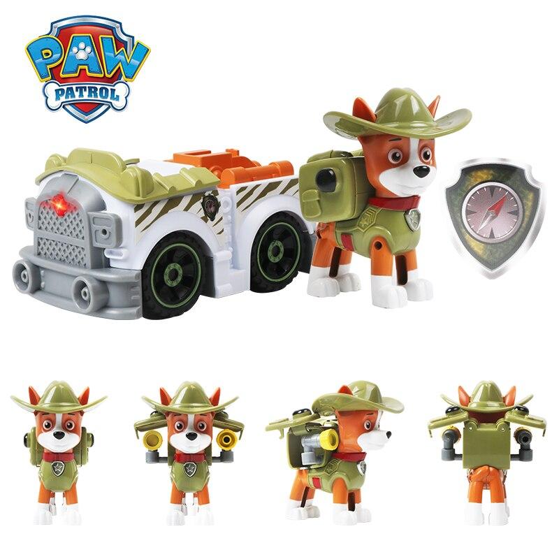 Paw Patrol Anime Figure Toy Tracker Everest Snow Jungle Rescue Cars Music Lights Sound Vehicle Paw Patrol Birthday Boys Gifts