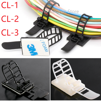 10pcs CL-1 CL-2 CL-3 Cable Clips Self Adhesive Mount Wire Clamp Line Tie Fixed Adjustable Fasten Organizer Holder White Black