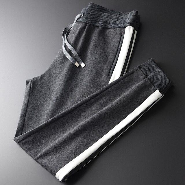 Minglu سميكة الرجال السراويل الفاخرة الشريط التباين اللون لصق عادية الرياضة الذكور السراويل حجم كبير 4xl مرونة الخصر الذكور بنطلون