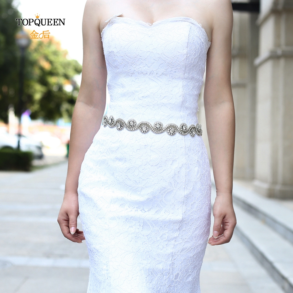 TOPQUEEN S10 Diamond Belts For Women Accessories Marriage Bridal Belts Crystal Rhinestone Bridal Sash Wedding Belt Accessories