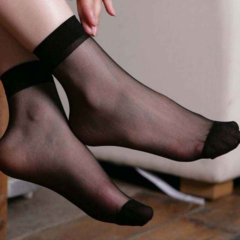 10 Pairs Women's Fashion Shiny Trendy Girls Glitter Ankles Socks Spring Summer Thin Gauze Transparent Lady Sox Soft Comfortable