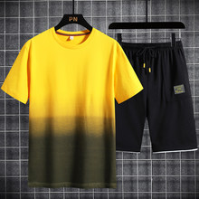 Merk Set Mannen Kleding 2020 Zomer Nieuwe 2 Pc Trainingspak Korte Sweatshirt + Shorts Sets Strand Mens Casual Shirts Sportswears(China)