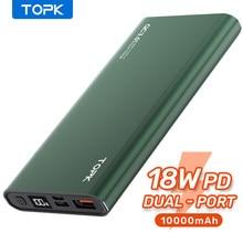 TOPK batterie d'alimentation 10000mAh chargeur Portable LED batterie externe PowerBank PD deux voies charge rapide paupérine pour iPhone Xiaomi mi